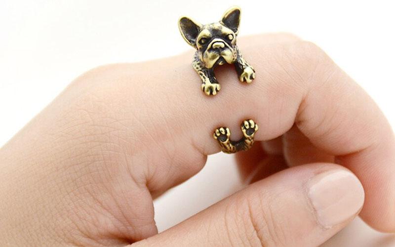 Zinc Alloy French BullDog Ring