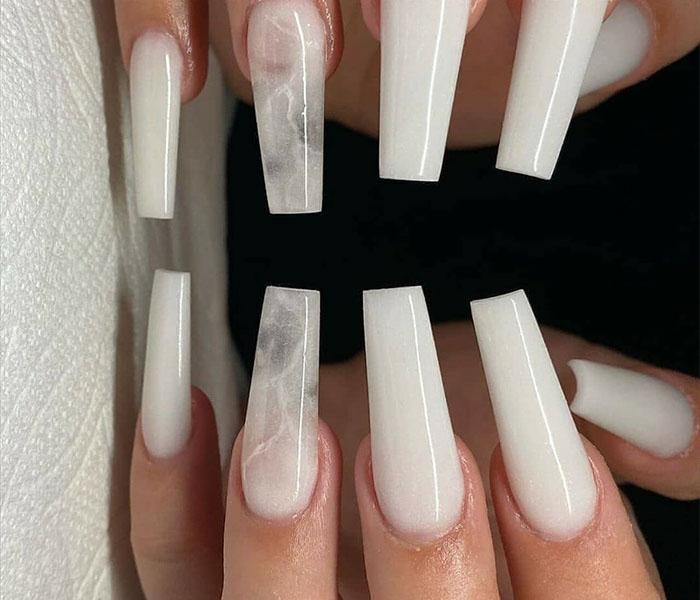 Coffin Acrylic Nails idea 3