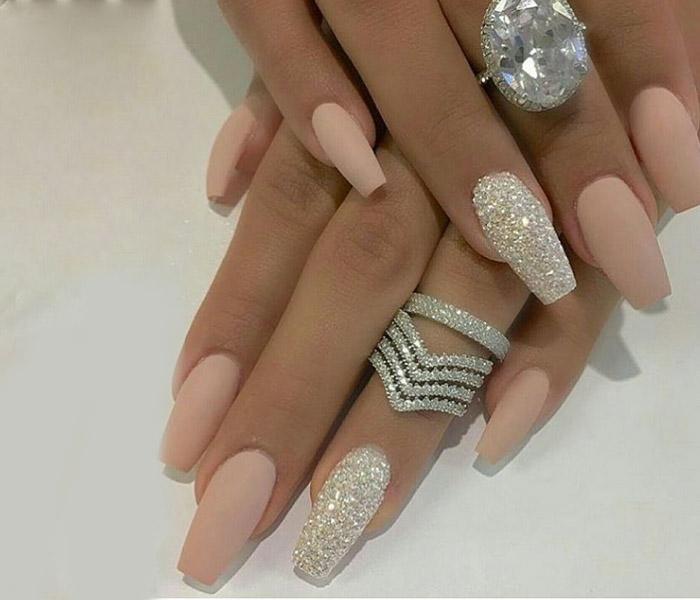 Coffin Glitter Nails Idea 1