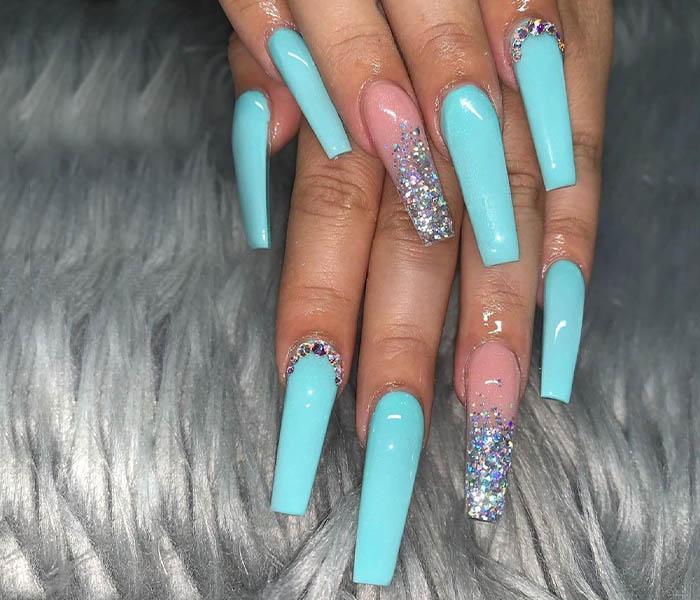 Coffin Glitter Nails Idea 2