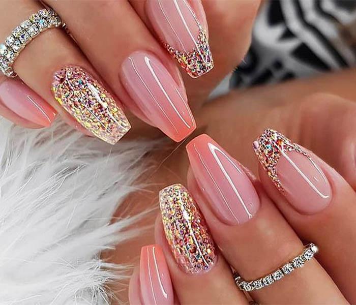 Coffin Glitter Nails Idea 3