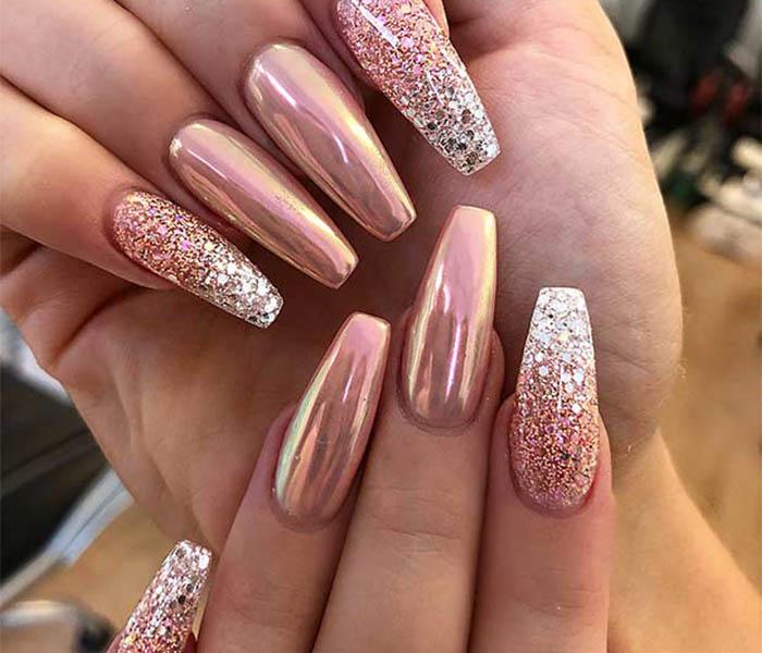 Coffin Glitter Nails Idea 5