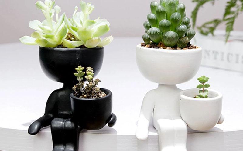 Human Shaped Ceramic Sitting Flower Pots