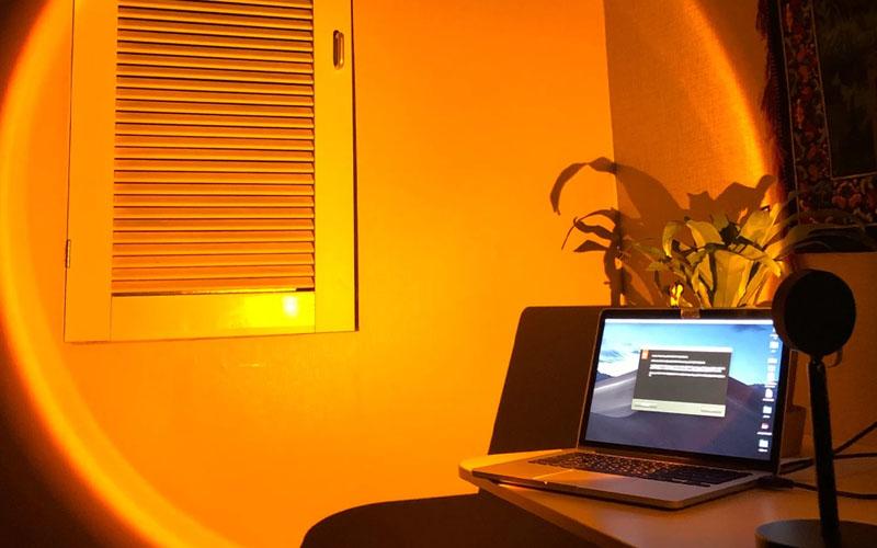 USB Rainbow Sunset Red LED Projector Night Light