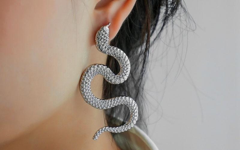 Zinc Alloy Snake Earrings
