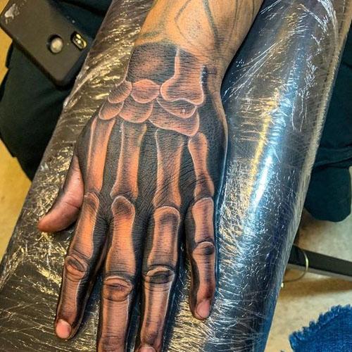 3D Skeleton Hands Tattoo