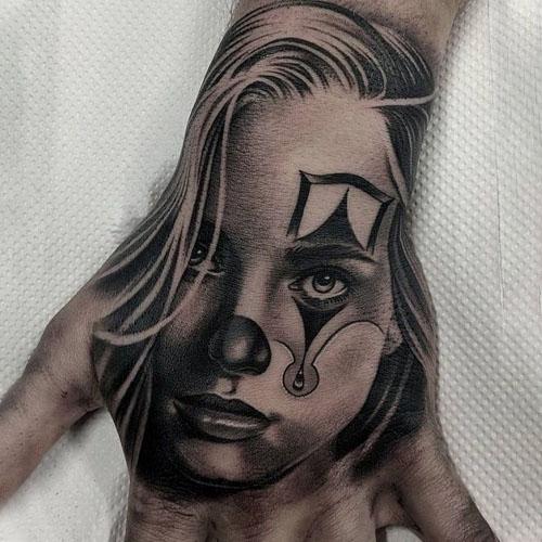 Creepy Face Tattoo On Hand