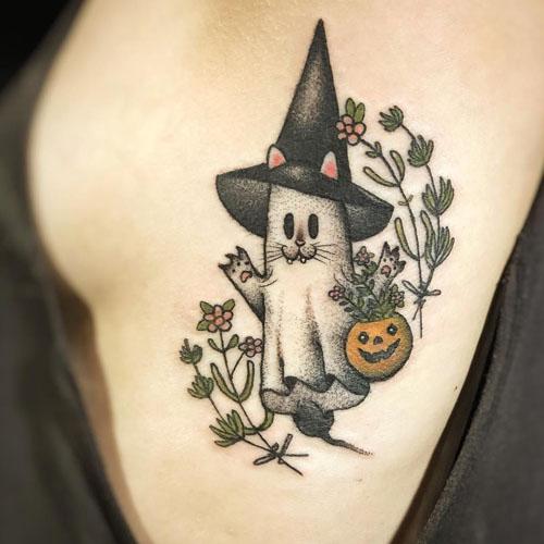 Cute Tattoo Of Ghost