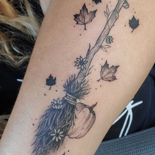 Fall Leaves With Broomstick