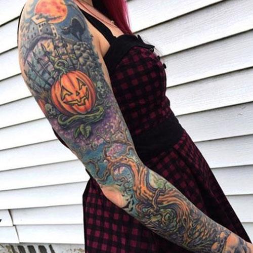 Full Halloween Tattoos Sleeve