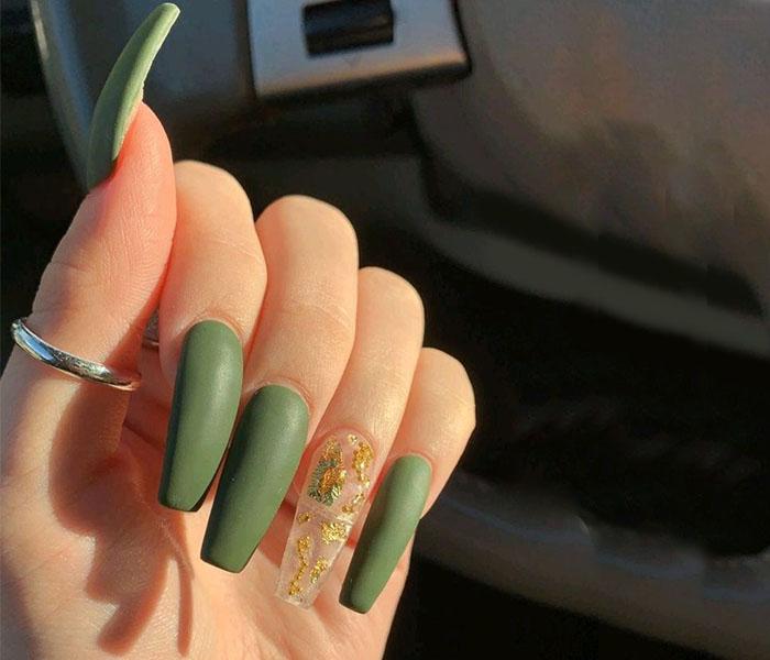 Matte Coffin Shape Nails