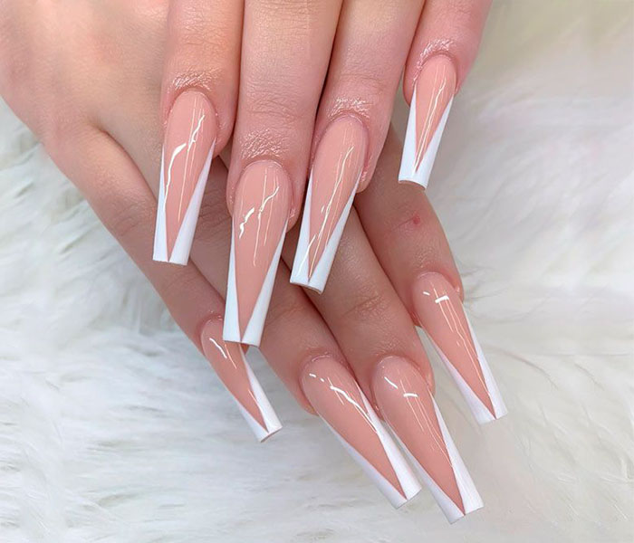 Coffin French Tip Nails