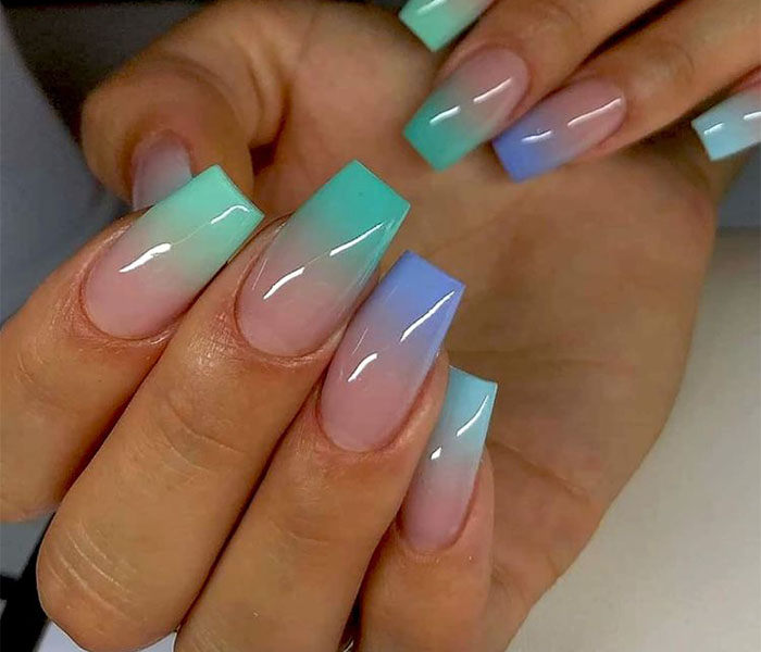 Coffin Ombre Nails