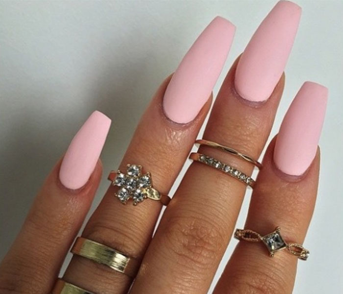 Pink Coffin Nails