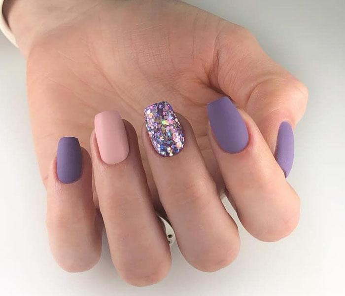 Short Purple Coffin Nails