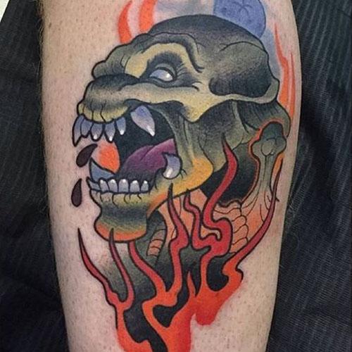 One Of Weird Pumpkinhead Tattoos