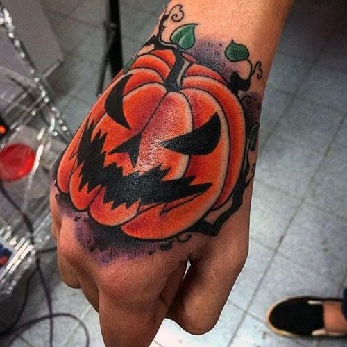Pumpkin Skull Tattoo