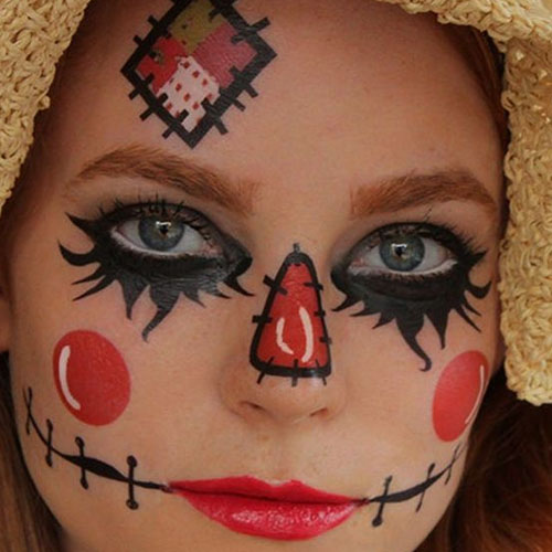 Red & Black Face Tattoo