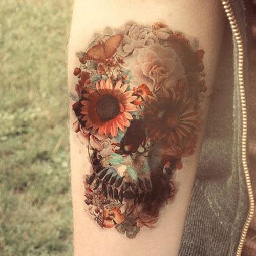 Sunflower Skull Forearm Tattoo