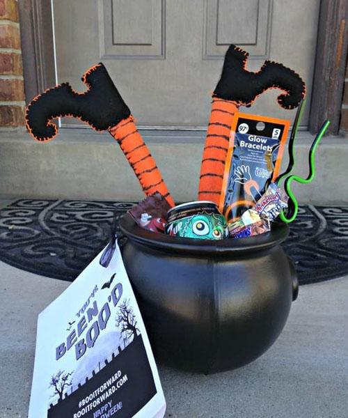 The witch leg Halloween basket
