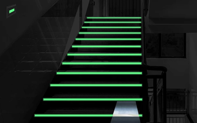 These Neon Green Tape On Stairs Presents Will Create A Mysterious Ambiance