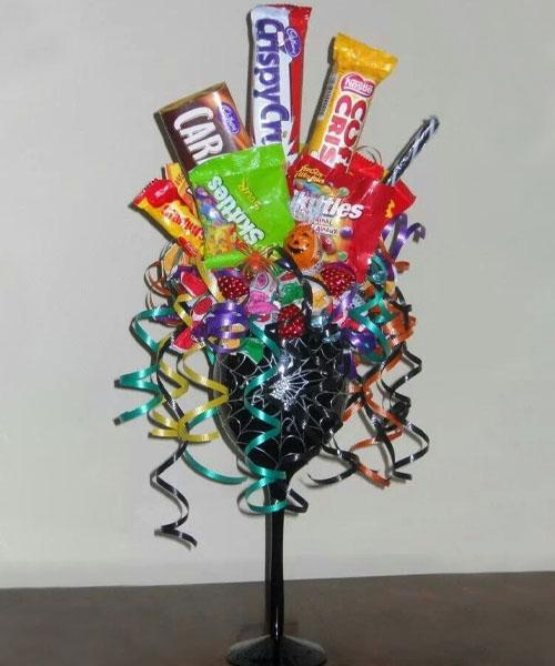 Wine glass Halloween basket idea